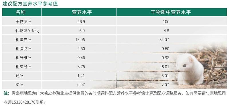 11月份进口改良水貂建议配方营养水平参考值-青岛康地恩