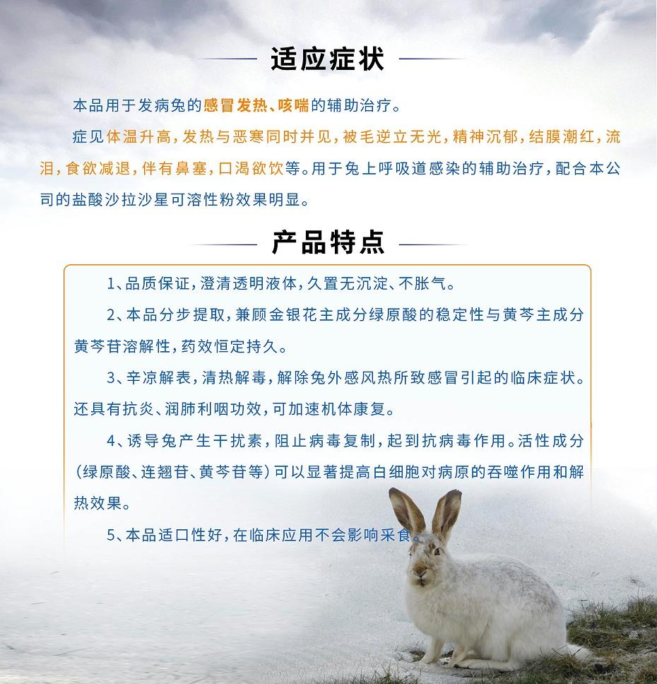 病兔感冒发热辅助治疗双黄连口服液青岛康地恩厂家批发